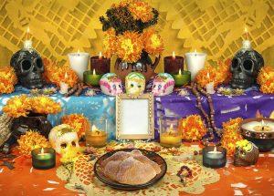 Altar mexicano con ofrendas a los muertos